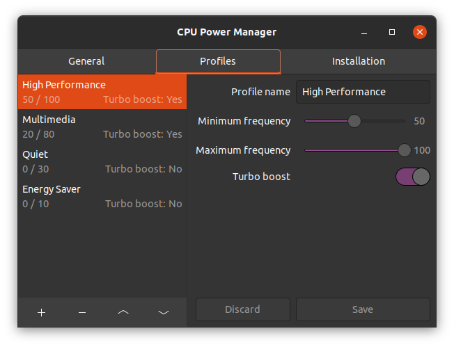 CPU Power Manager Settings