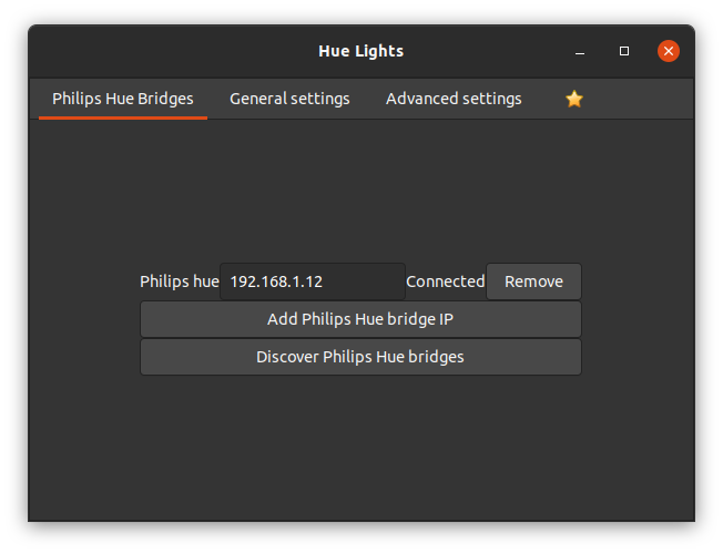 Hue Lights Extension Settings
